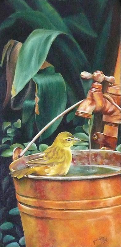 L'heure du bain - Artiste Peintre - Guylaine Ruel